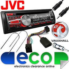 Vauxhall Combo B Van JVC RED Display Stereo CD MP3 USB AUX & Steering Wheel Kit