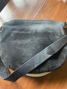 Vintage Gucci Black Suede Hobo Shoulder Bag