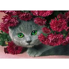 5D DIY Full Drill Diamond Painting Cat Flowers Cross Stitch Embroidery Kits *DC