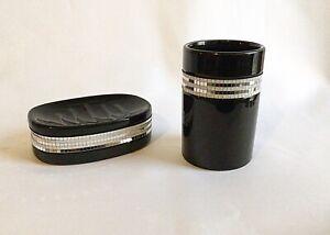 Black Glossy Diamanté Ceramic Bathroom Accessory 2 Piece Set Soap Dish Tumbler