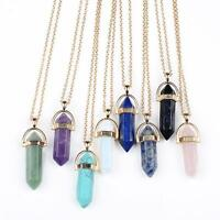 Hermoso de cristal ópalo piedra natural Cuarzo Collar con colgante cadena