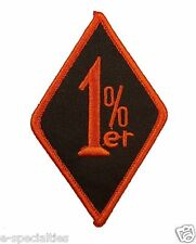 1%er One Percenter Embroidered Patch Black and Orange Color Motorcycle Biker