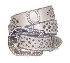 HORSE SHOE WHITE WESTERN RHINESTONE BLING CRYSTAL BELT BUCKLE M SM
