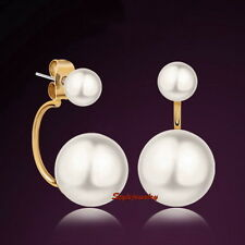 18k Rose Gold Filled Two Way Wear Bridal White Pearl Stud Dangle Earring IE21