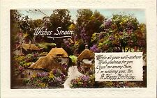 1920s or 30s real photo card ! wishes sincere . village scene