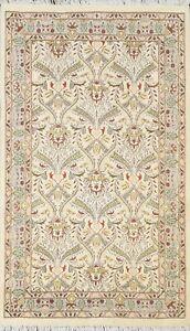 IVORY Tebriz Vegetable Dye Oriental Wool/ Silk Area Rug Hand-knotted 3x5 Carpet
