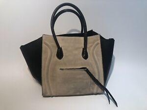 Celine Genuine Luggage Medium Phantom Suede/Leather Handbag in Black and Cream