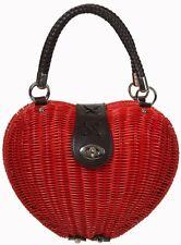 Banned Dancing Days Nikki Rockabilly 50s Handbag Rattan Purse Wicker Heart RED