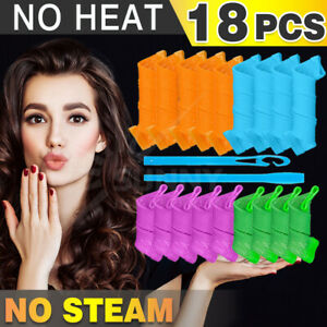 18PCS Magic Hair Curler No Heat Formers Spiral Styling Rollers Free Hair Donut