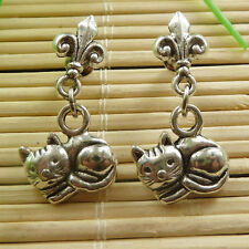 20pairs Woman's tibet silver cat charms Earrings 28x14mm ZH785