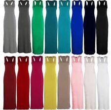 Ladies Women Jersey Long Summer Vest Muscle Racer Back Maxi Dress Peti UK 8-18