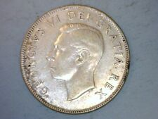 Canada 1948 Fifty 50 Cents Half Dollar King George VI 80% Silver Coin, 11.7 g.