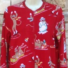 Nick & Nora 1 pc Pajamas Women S Sock Monkey Red Sports Skiing Skating Sledding