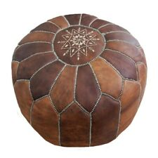 Moroccan Leather Pouf Ottoman Footstool Pouffe Handmade Dark Brown Tobacco Poufs