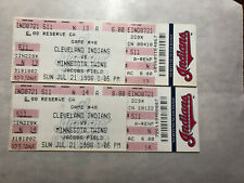 Cleveland Indians vs Minnesota Twins Jacobs Field July 21, 1996 (2 Used Tickets)
