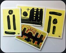 Handmade artistic hand-painted blank postcards for sale. Set of 4 painted cards.
