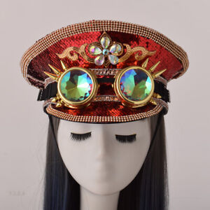 Steampunk Military Hat Officer Army Hat Punk Hat With Sequins Rhinestone Pattern