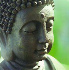 quadratische Postkarte: Kopf eines Buddha - Head of a Buddha statue