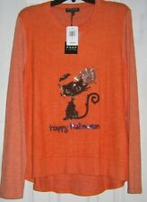 NEW! POOF NY ~ Orange HALLOWEEN Top w/ SEQUINNED Black CAT ~ LARGE / Bust to 38""