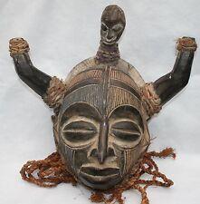 Antique Vintage Carved Wood African Tribal Horned Mask Rope Beard & Skull CHOKWE