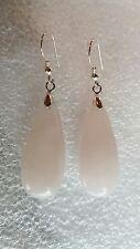 STERLING Silver Rose Quartz Teardrop Dangle Earrings USA219