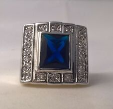 G-Filled Men's 18ct white gold ring simulated sapphire blue rectangle 13.4 grams