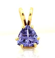 14k yellow gold 5.9mm trillion blue violet purple tanzanite solitaire pendant
