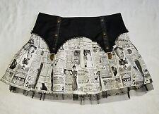 LIP SERVICE Step In Time Med  Newspaper Print Steampunk Goth Garter Mini Skirt