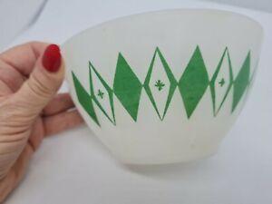 Vintage Crown Agee PYREX Green Dot Spotted DIAMOND BOWL