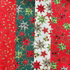 Paquete De Tela de Navidad. 4 piezas de tela festivo Stars & Holly 30cm X 50cm