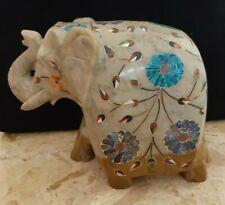 sculpture animalier figurine statue éléphant en marbre avec des incrustations
