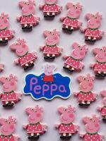 18 PCS Mixed Kawaii Resin Peppa Pig Cabochons Craft Charms Flatbacks Hair Bows
