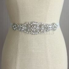 Wedding Dress Bride Gown Sash Belt Handmade Rhinestone Crystal Beaded Bridal