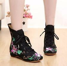 Womens Embroidery Floral Sneakers High Top Ankle Boots Casual Shoes
