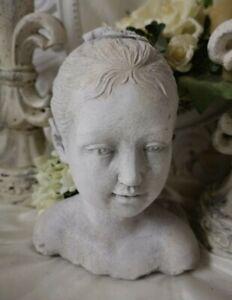 Bust Stature Sculpture Grey Shabby Vintage Landhaus Garden Decorative