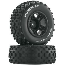 Duratrax DTXC3704 Punch C2 Mounted Front Tires / Black Wheels (2) Traxxas Slash