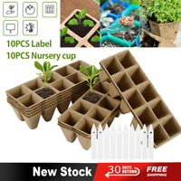 10X 10CellsPlant Seed Starter Trays Pots Biodegradable Seedling Starter W/Labels