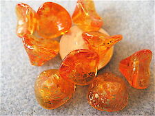 12 Sunshine Dust 3 Petal Czech Glass Flower Beads 12mm