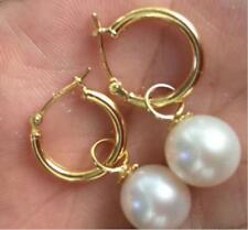 PERFECT round AAA 7-8MM  south sea white pearl dangle earrings 14K GOLD