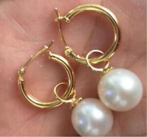 PERFECT round AAA 8-8.5MM  south sea white pearl dangle earrings 14K GOLD