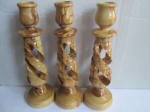 3 Bethlehem Olive Wood Candle Holders, olivewood Candlesticks
