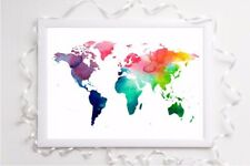 world map watercolour  Print a4 picture unframed wall art