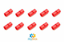 10x Lego Red Technic, Pin Connector Round 2L with Slot - 62462