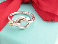 Tiffany & Co Silver 18K Gold Love Knot Ring Band Size 7