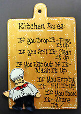FAT CHEF KITCHEN RULES Pick Up Clean Wash Fill Share SIGN Wall Plaque Cucina