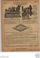 1913 PAPER AD Corbin Harrison Key Cutting Machine Hand Power Crank Belt Drive