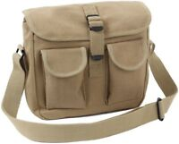 Khaki 2 Pocket Canvas Military Ammo Carry Shoulder Bag