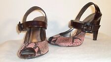 Linea Paolo Pumps Open Toe Faux Pink Snakeskin Leather High Heels Shoes Size 6.5