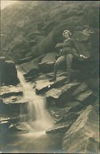 Young Lady Standing Waterfall Rocks   RJ.915