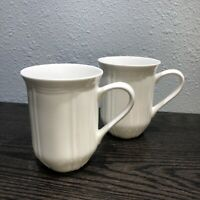 "Mikasa Antique White Bone China 4 3/8""  Tall Coffee Cups Set Of 2"